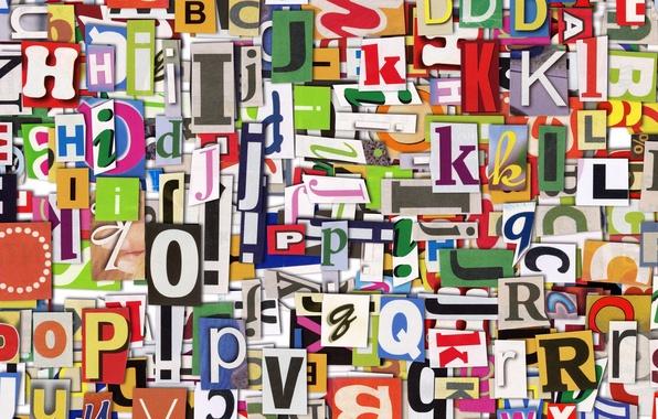 Картинка буквы, газета, разноцветные, английские, вырезки, Majuscule
