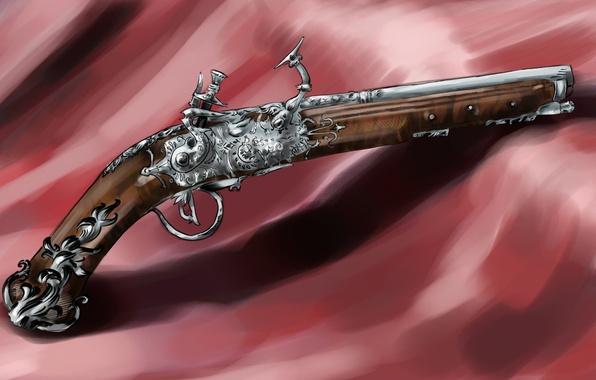 Картинка пистолет, оружие, тень, арт, ткань