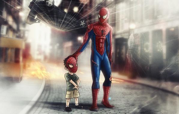 Картинка человек-паук, spider-man, ребенок, паутина, маска, супергерой