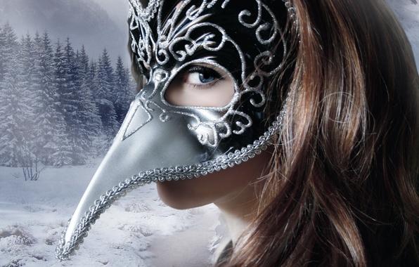 Картинка зима, взгляд, девушка, снег, деревья, лицо, фон, волосы, маска