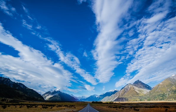 Картинка дорога, небо, облака, Горы