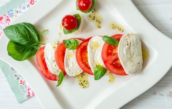 Картинка масло, сыр, помидоры, food, салат, закуска, базилик, капрезе, моцарелла, caprese, salad