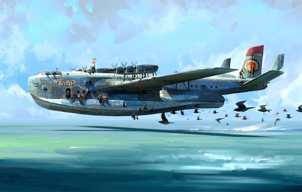 Картинка небо, птицы, рисунок, арт, полёт, военный, гидросамолёт, шестимоторный