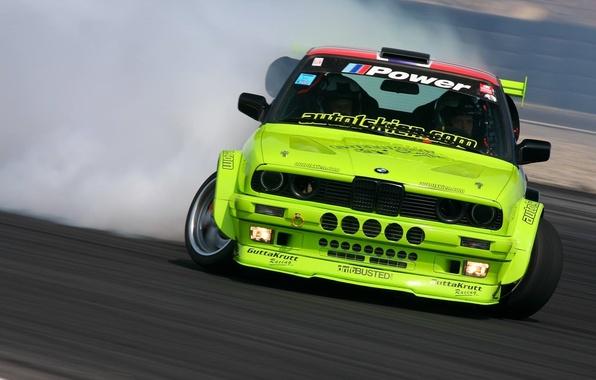 Картинка Дым, BMW, БМВ, Желтая, Дрифт, Drift, Yellow, Smoke, E30, 3 Series