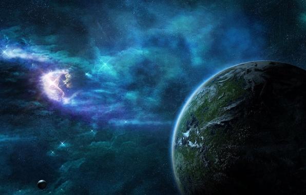 Картинка космос, звезды, туманность, планета, space, nebula, stars, planet