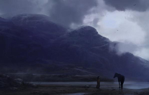 Картинка небо, полет, пейзаж, горы, птицы, тучи, туман, река, перо, лошадь, индеец