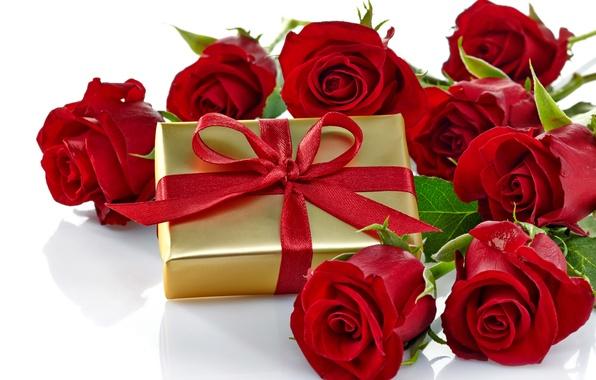 Картинка коробка, подарок, розы, red, love, бант, flowers, romantic, Valentine's Day, gift, roses