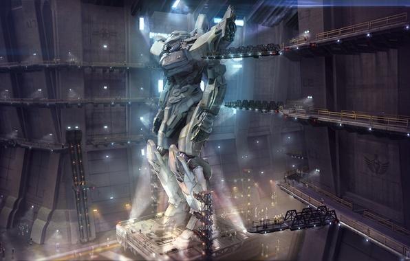 Картинка фантастика, робот, ангар, гигант, защитник, mech