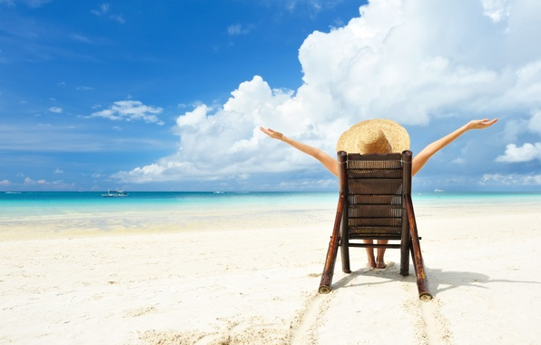 Картинка relax, light, girl, summer, beach, sky, hat, water, sun, sand, boat, situation, vacation, Sea, beach …