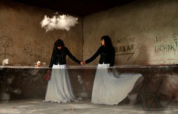 Картинка вода, девушка, фантазия, комната, дождь, облако, арт