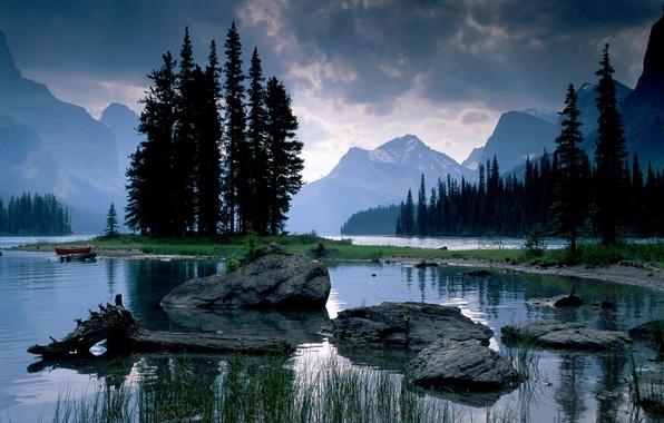Картинка горы, озеро, камни