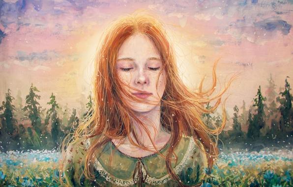 Картинка Девушка, Рисунок, Лицо, Волосы, Живопись, Рыжая