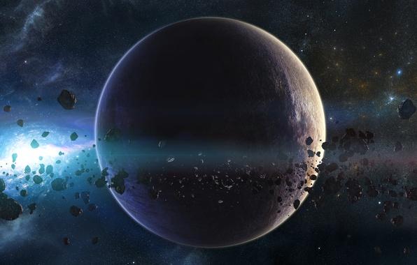 Картинка планета, звёзды, астероиды, галактика, пояс