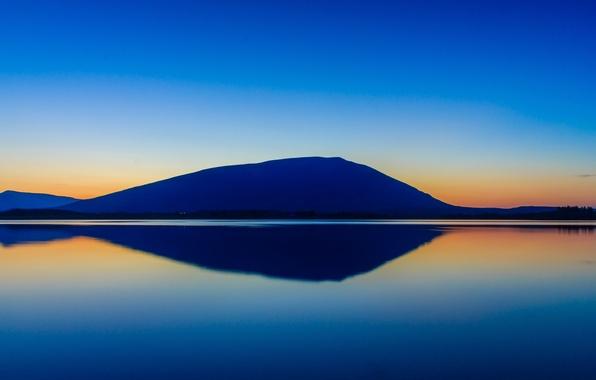 Картинка небо, закат, горы, озеро, отражение, зеркало, силуэт, Ирландия, Nephin
