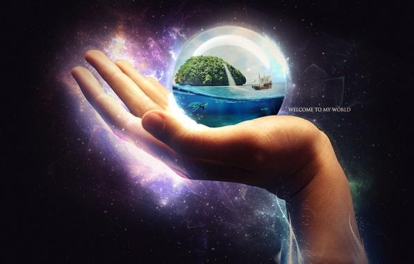 Картинка океан, корабль, остров, шар, рука, черепаха, арт, сфера