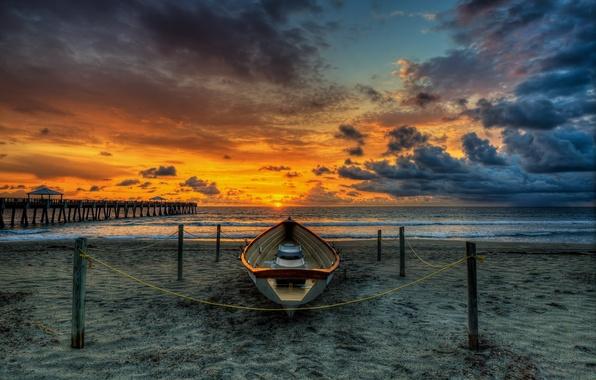 Картинка песок, море, пляж, небо, вода, солнце, пейзаж, закат, мост, природа, океан, лодка, beach, sky, sea, …