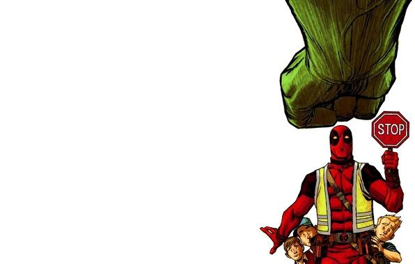 Картинка стоп, халк, marvel, Дэдпул, stop, deadpool, hulk, Comics, Wade Wilson