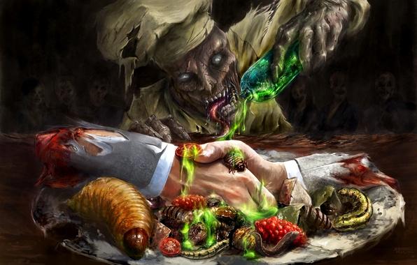 Картинка насекомые, кровь, бутылка, руки, арт, зомби, повар, личинки, ожидание, нежить, блюдо, рукопожатие, кулинар, склянка, кислота