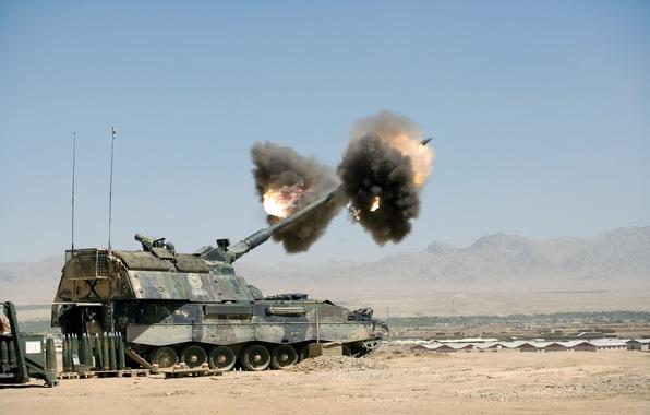 Картинка дым, выстрел, артиллерия, pzh 2000, снаряд, сау