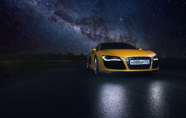 Картинка Audi, Star, Space, Night, Yellow, Road, Supercar, Reflection