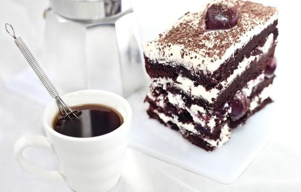 Картинка вишня, кофе, еда, пирожное, крем, десерт, шоколадное