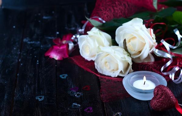Картинка цветы, сердце, розы, свеча, сердечки, белые розы, День Святого Валентина
