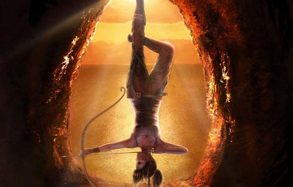Картинка девушка, веревка, лук, к верх ногами, висит, лара крофт, Lara Croft, Tomb raider, арт. игра