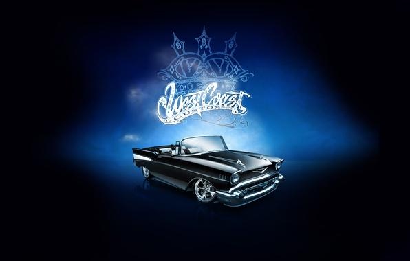 Картинка машина, фон, чёрный, надпись, Cadillac, тюнинг, логотип, эмблема, кабриолет, tuning, передок, Вест Кост Кастомс, West …