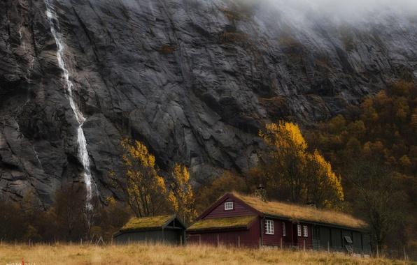 Картинка осень, горы, дом, водопад, Норвегия, Viggo Johansen Photography, Ставангер, Ругаланн