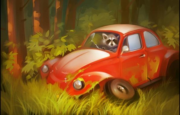 Картинка авто, лес, деревья, жук, арт, колеса, енот, автомобиль, кусты