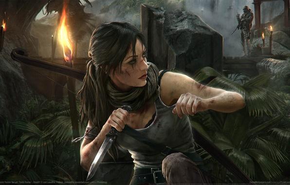 Картинка мост, оружие, джунгли, нож, Tomb Raider, Лара Крофт, факелы, Stealth, game wallpapers, Lara Croft, Расхитительница …