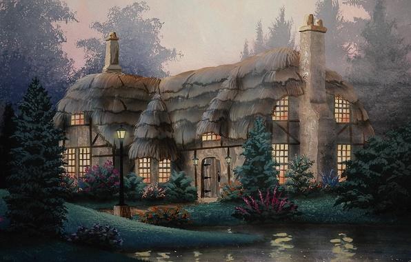 Картинка дом, рисунок, двор