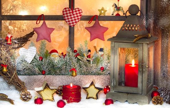 Картинка зима, снег, праздник, сердце, звезда, свечи, Рождество, фонарь, Новый год, star, Happy New Year, heart, …