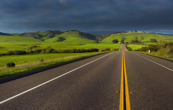 Картинка дорога, небо, тучи, весна, Калифорния, Апрель, США, штат