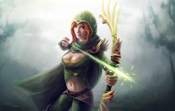 Картинка лес, девушка, магия, лук, лучница, арт, капюшон, стрела, рыжая, dota 2