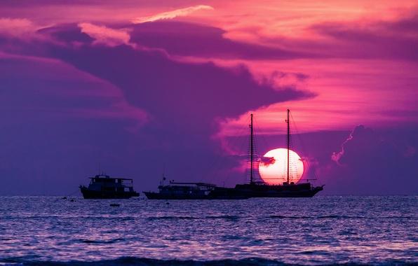 Картинка солнце, закат, город, корабли, Таиланд, Сиамский залив, Паттайя