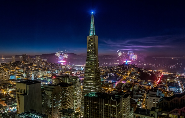 Картинка небо, ночь, город, огни, праздник, здания, дома, небоскребы, салют, освещение, Калифорния, Сан-Франциско, фейерверк, USA, США, …