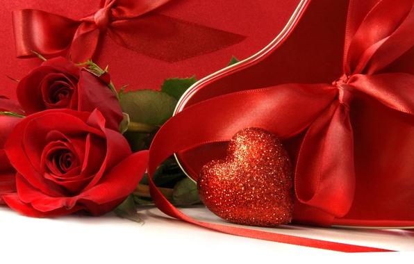 Картинка ленты, красное, сердце, розы, бант