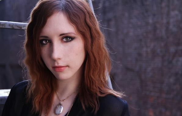 Картинка глаза, девушка, губы, кулон, рыжая, локоны, Stephanie Van Rijn