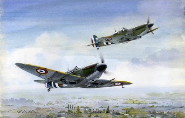 Картинка полет, рисунок, арт, истребители, Spitfire, британские, Free French