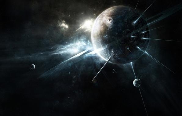 Картинка космос, фантазия, планеты