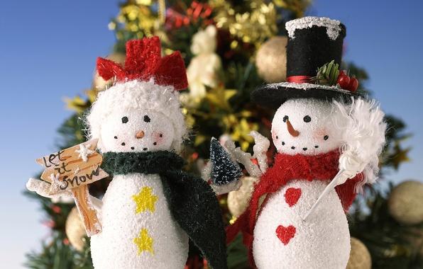 Картинка елки, новый год, рождество, снеговик, Christmas, New Year, snowman, Christmas trees