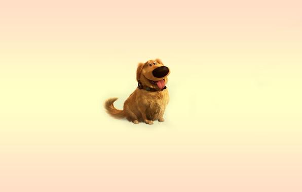 Картинка язык, вверх, собака, минимализм, пес, ошейник, dog