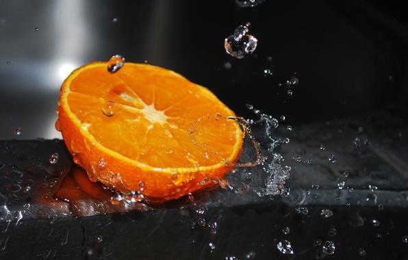 Картинка вода, капли, макро, брызги, апельсин, water, orange