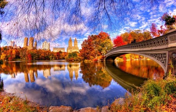 Картинка осень, листья, вода, деревья, мост, природа, парк, отражение, trees, nature, bridge, water, park, autumn, view, …
