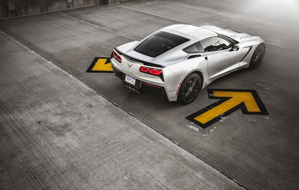 Картинка Corvette, Chevrolet, Muscle, Car, Sun, American, Stingray, Silver, Rear, Ligth, Z51