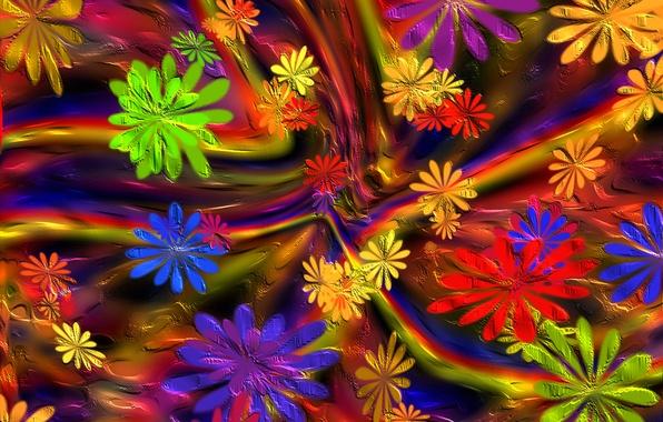 Картинка цветы, краски, лепестки, объем