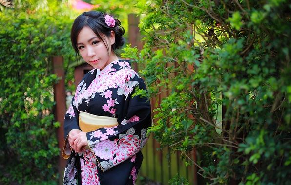 Картинка девушка, цветы, лицо, стиль, фон, волосы, макияж, кимоно