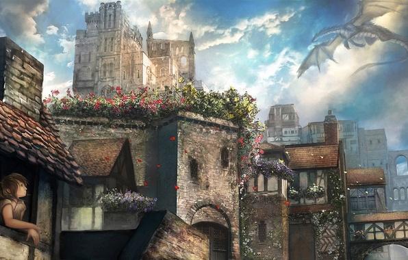 Картинка девушка, полет, цветы, город, дракон, окно, арт