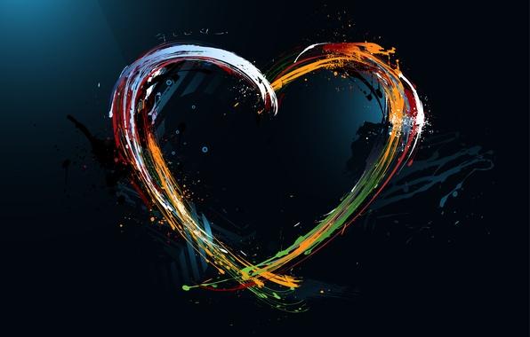 Картинка краски, сердце, разводы, арт, разноцветные, Painted heart, писунок